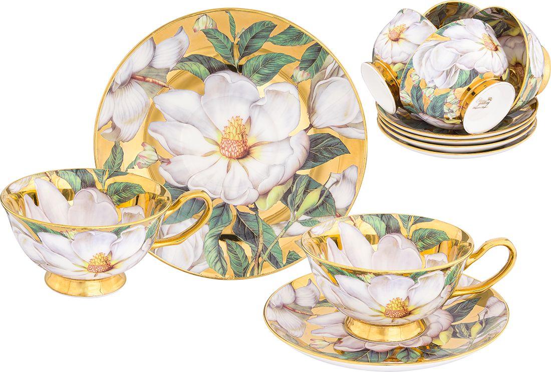 Набор чайный Elan Gallery Белый шиповник, цвет: золотистый, 12 предметов блюдо для горячего elan gallery белый шиповник 42 х 22 5 см