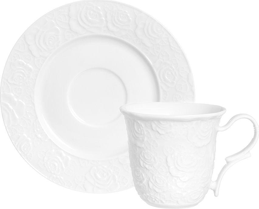 Чайная пара Elan Gallery Белые розы, цвет: белый, 2 предмета чайная пара elan gallery белые розы