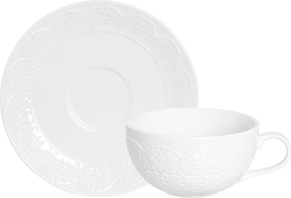 """Кофейная пара Elan Gallery """"Кружево"""", цвет: белый, 2 предмета"""