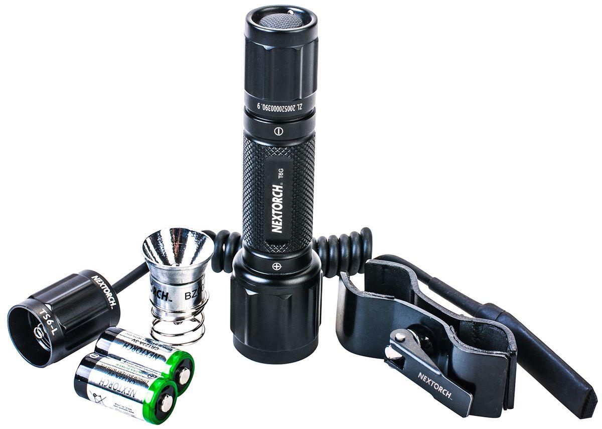 Фонарь тактический Nextorch T6G Set, с кронштейном и выносной кнопкой, цвет: черныйT6G setКомплект - фонарь тактический Nextorch T6G Set светодиод белый (350 люмен), зеленый (200 люмен), кронштейн, выносная кнопка, 2 x CR123A. В серии T (Tactical) применяются наиболее передовые технологии. Высокая яркость и надежность, дальность луча и водозащищенность - вот особенности моделей данного ряда фонарей Nextorch. Чтобы удовлетворить растущий спрос рынка, Nextorch предоставляет наиболее полный спектр аксессуаров для фонарей. Комплект T6G Set включает светодиодный фонарь T6G, кронштейн для установки фонаря, выносную кнопку для более удобного использования фонаря, две батареи CR123A и дополнительную светодиодную лампочку зеленого цвета. В комплекте имеется кронштейн RM85 для установки фонаря. Кронштейн может быть установлен на трубу диаметром 25 мм. 6 мм - 30 мм для фонарей с диаметром корпуса 20 мм - 28 мм. Данная модель кронштейна подходит для установки фонарей T6A, T6A LED SET, TA3 SET, T6L R5 SET, GT6A Series, myTorch 18650, myTorch 3AAA, myTorch RC 18650, myTorch RC 3AAA, myTorch XL, TA3, P8A. Режимы работы: 1. Полная яркость: 350 люмен. Технические характеристики: Светодиод: LED CREE R5 белый/зеленый. Тип батареи: 2 х CR123A 3V. Материал корпуса: авиационный алюминий 6061-T6 с анодированным покрытием. Линза: стекло. Мощность светового потока: 350 Лм (белый)/200 Лм (зеленый). Время работы: 100 минут. Дистанция: 143 м. Водонепроницаем: до 10 м. Ударопрочность: 1 м. Диаметр головы: 34 мм. Диаметр корпуса: 25 мм. Общая длинна: 125 мм. Комплектация: фонарь, кронштейн...