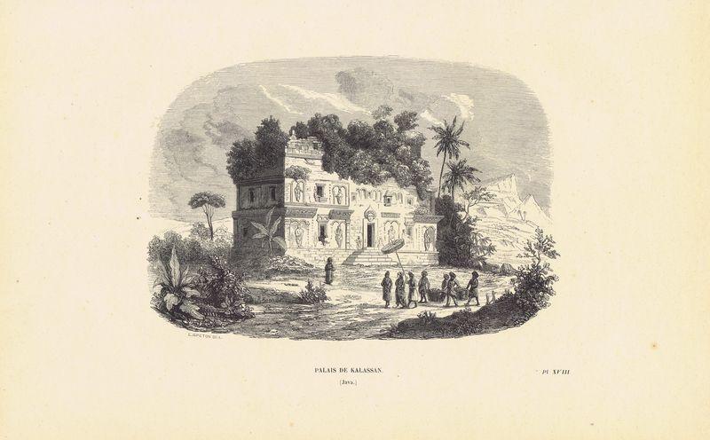 Индонезия, остров Ява, Буддийский храм (чанди) Каласан. Ксилография. Бельгия, Брюссель, 1843 год япония дворец оннай ксилография бельгия брюссель 1843 год