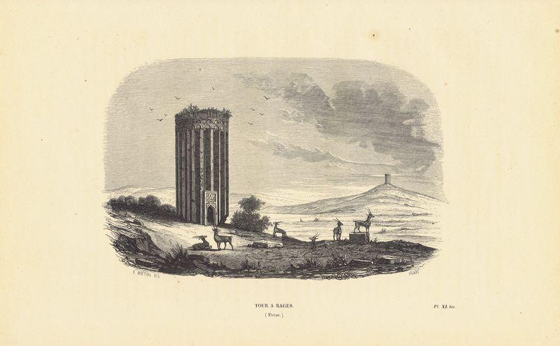 Башня в Раге (Рей), Персия (Иран). Ксилография. Бельгия, Брюссель, 1843 год япония дворец оннай ксилография бельгия брюссель 1843 год