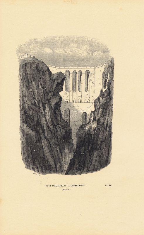 Мост Алькантара в Константине, Алжир. Ксилография. Бельгия, Брюссель, 1843 год япония дворец оннай ксилография бельгия брюссель 1843 год