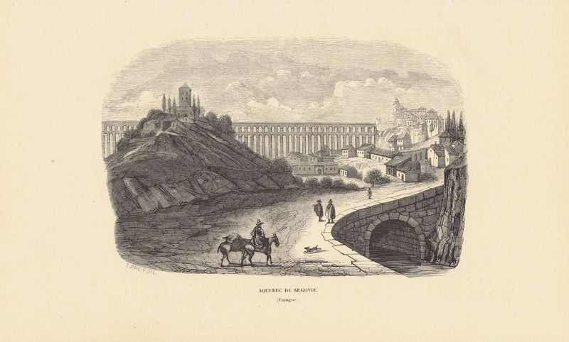 Акведук в Сеговии, Испания. Ксилография. Бельгия, Брюссель, 1843 год италийский амфитеатр близ города севилья испания ксилография бельгия брюссель 1843 год
