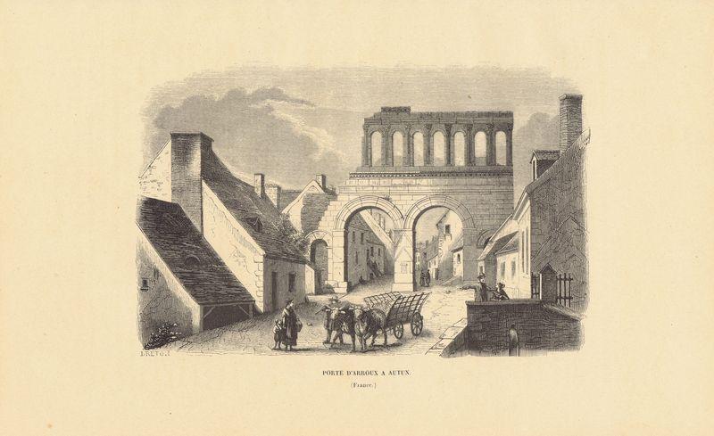 Ворота в городе Отён со стороны реки Арру, Франция. Ксилография. Бельгия, Брюссель, 1843 год япония дворец оннай ксилография бельгия брюссель 1843 год