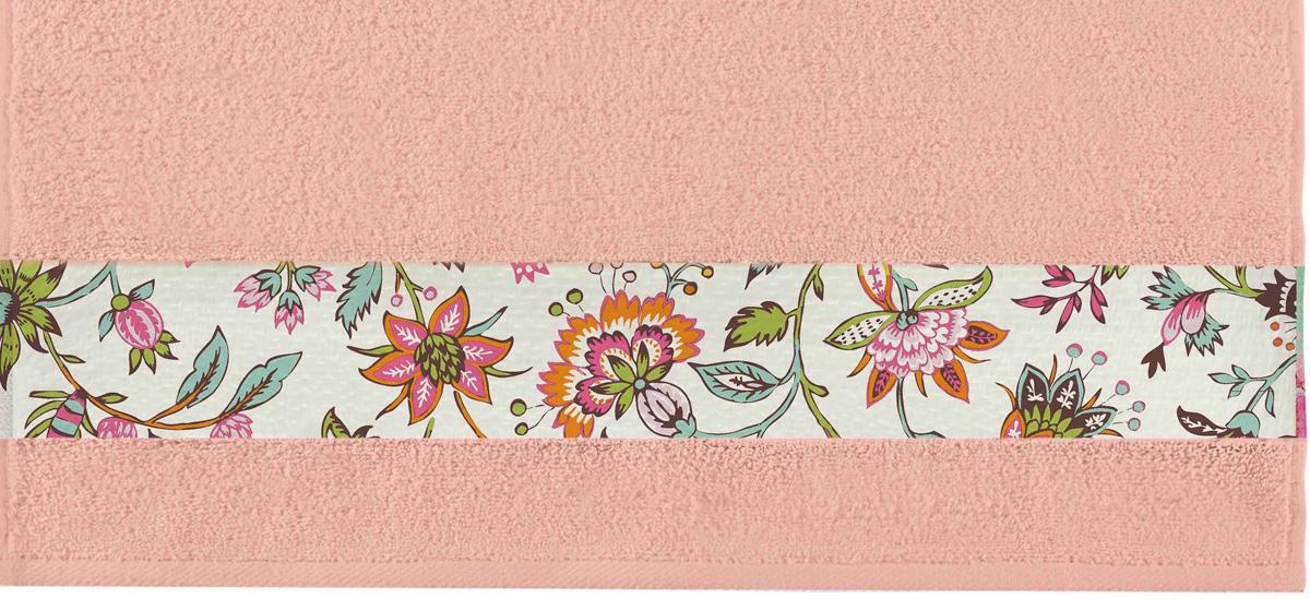 Полотенце банное Aquarelle Фотобордюр. Цветы 2, цвет: розово-персиковый, 70 х 140 см полотенце банное aquarelle бостон 2 цвет белый маренго 70 х 140 см