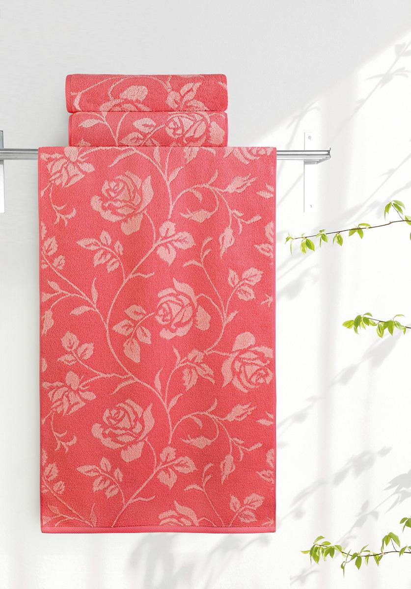 Полотенце банное Aquarelle Розы 2, цвет: розово-персиковый, коралловый, 70 х 140 см полотенце aquarelle розы 1 цвет розово персиковый коралловый 35 х 70 см
