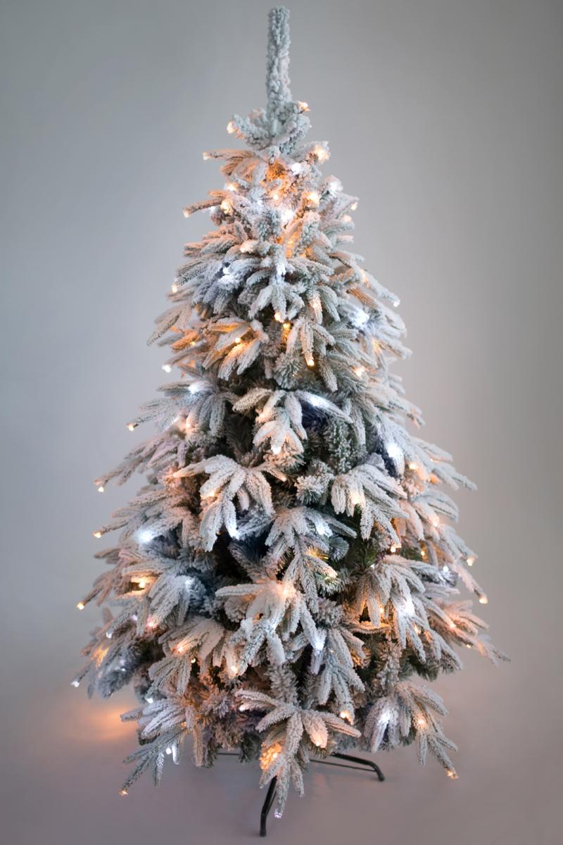 CRYSTAL TREES Искусственная Ель Маттерхорн заснеженная с вплетенной гирляндой 210см. ель новогодняя crystal trees 2 4 м соренто kp9224