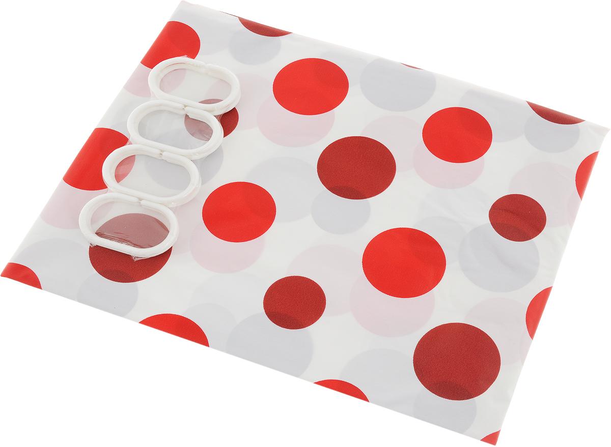 Штора для ванной комнаты Top Star Круги, красный, белый, 180 х 180 см шторы для комнаты drdeco шторы однотонная белая дизайн 70000