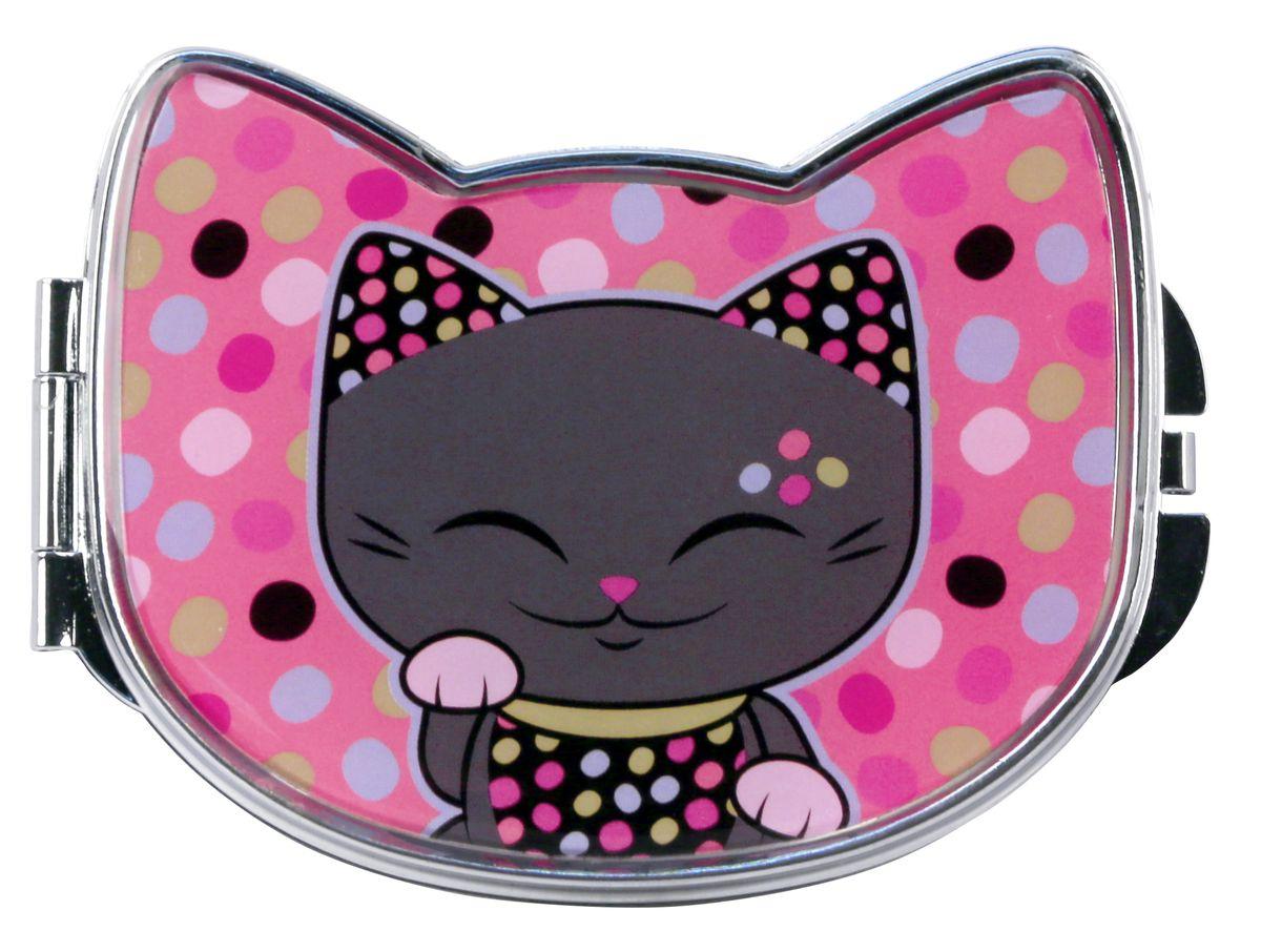 "Зеркало косметическое Mani The Lucky Cat ""Кот Удачи"", цвет: розовый, 9,2 х 7,5 см. MF073"