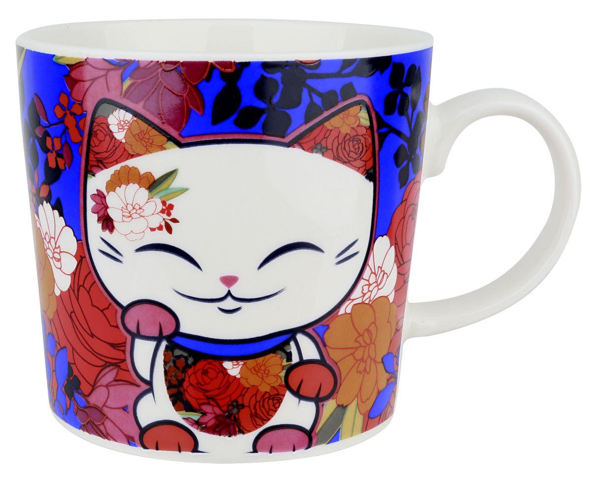 Кружка Mani The Lucky Cat Кот Удачи, цвет: синий, 350 млMH009Забавная фарфоровая кружка с изображением Кота Удачи, который приносит успех во всем. Понравится всем ценителям прекрасного.