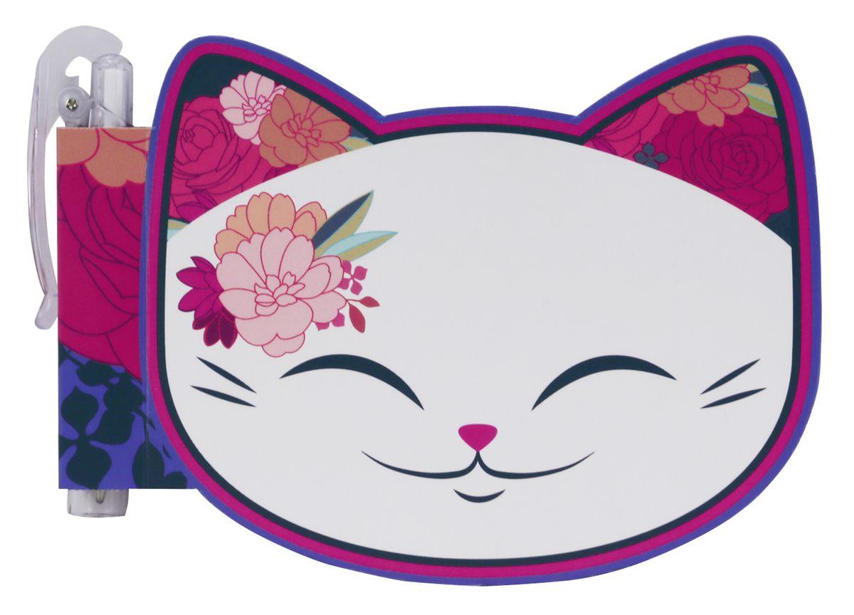 Mani The Lucky Cat Блокнот Кот Удачи цвет белый с ручкой MS041
