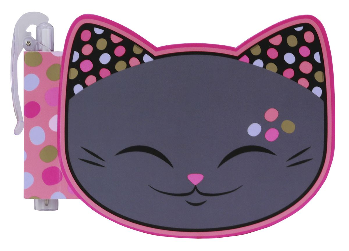 Mani The Lucky Cat Блокнот Кот Удачи цвет серый с ручкой