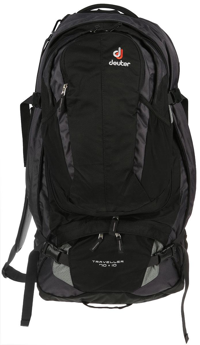 Рюкзак туристический Deuter Traveller, цвет: черный, серый металлик, 70 л рюкзак 70 л
