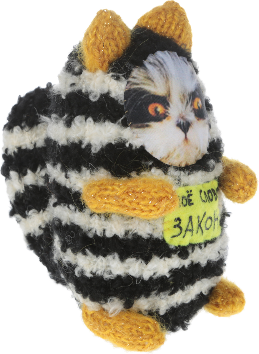 """Мягкая игрушка Бюро находок """"Котик. Мое слово - Закон"""", цвет: белый, черный, желтый, 18 см"""