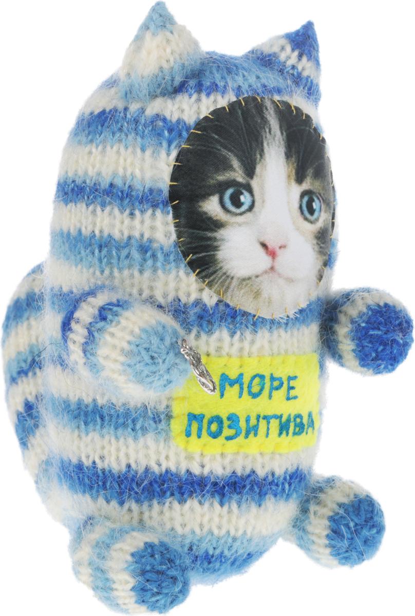 "Мягкая игрушка Бюро находок ""Котик. Море позитива"", цвет: белый, голубой, синий, 16 см"