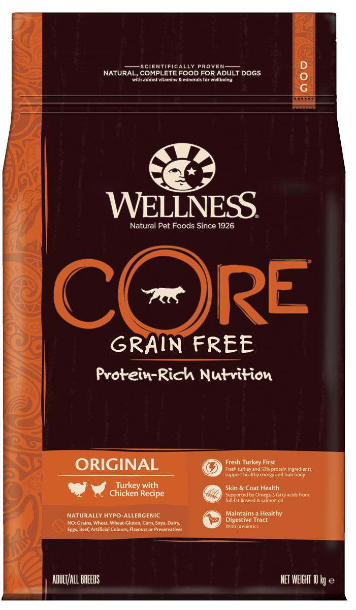 """Корм сухой Wellness CORE """"Original"""", для взрослых собак, беззерновой, индейка с курицей, 10 кг"""