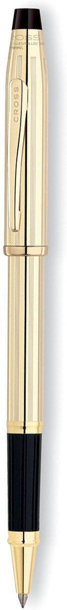 Ручка-роллер Cross Selectip Century II, цвет чернил: черный, цвет корпуса: золотистый cross многофункциональная ручка tech3 цвет корпуса золотистый