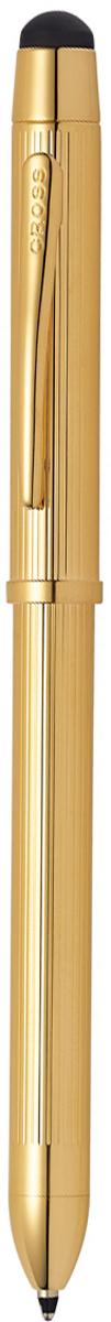 Многофункциональная ручка Cross Tech3+, цвет чернил: черный, красный, цвет корпуса: золотистый cross многофункциональная ручка tech3 цвет корпуса золотистый