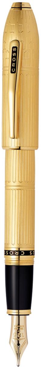 Ручка перьевая Cross Peerless Citizen LE London, цвет чернил: черный, цвет корпуса: золотистый, перо FAT0706-7FDАмериканская компания CROSS – один из старейших брендов среди производителей пишущих инструментов и деловых аксессуаров. Компания была основана в 1846 году ювелиром Ричардом Кроссом и изначально специализировалась на производстве роскошных ручек из драгоценных металлов и ювелирных корпусов для карандашей, тисненных золотом и серебром. Ручка CROSS — это оригинальный утонченный подарок и неотъемлемый элемент стиля и роскоши. Каждая ручка CROSS имеет пожизненную механическую гарантию. Ручка перьевая Cross Peerless Перо Fсоздана специально для ценителей роскоши.Перо: золото 18 Kt. (750 проба). Отделка пера: оригинальная гравировка с юбилейной символикой 125. Корпус: ювелирная латунь. Механизм: съемный завинчивающийся колпачок. Система заправки: картриджно-конвертерная. Отделка: специальное покрытие золотом 18 Kt. (18 Kt. Rolled Gold Plated) с оригинальной алмазной гравировкой и отполированное вручную, специальная объемная гравировка PEERLESS 125 на барреле и CROSS на клипе колпачка с заполнением черным лаком, отдельные элементы дизайна - позолота 23 Kt., кристалл Сваровски в виде рубина на торце колпачка. Размеры ручки: длина - 156 мм, максимальная ширина (диаметр) -13,2 мм. Вес ручки: 43 гр. Цвет: золотистый с гравировкой. Особенности: специальное издание отдает дань вечной элегантности Лондона. поставляется в специальной подарочной упаковке утонченного дизайна. оригинальная гравировка в виде традиционной архитектуры неоготики Лондона (Элизабет-Тауэр). кристалл...