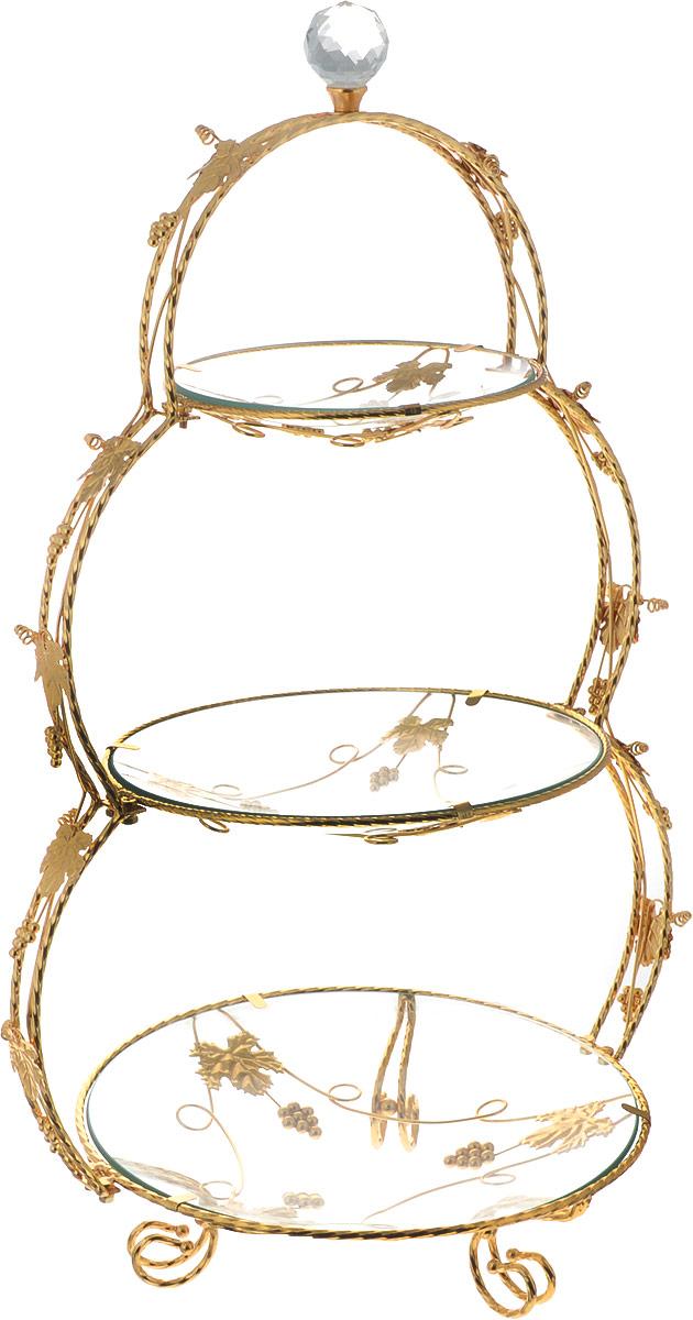 Конфетница Loraine Ванеса, 3-ярусная, 38,5 х 29,5 х 63 см. 26662 конфетница 3 ярусная loraine lr 27539