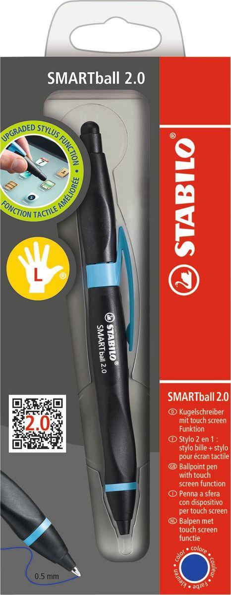 STABILO Ручка-стилус Smartball 2.0 для левшей синяя цвет корпуса черный голубой стилус wacom bamboo stylus duo2 для ipad и устройств с емкостными дисплеями шариковая ручка розовый cs 150p