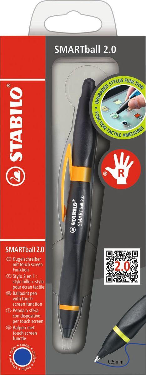 STABILO Ручка-стилус Smartball 2.0 для правшей синяя цвет корпуса черный оранжевый стилус wacom bamboo stylus duo2 для ipad и устройств с емкостными дисплеями шариковая ручка розовый cs 150p