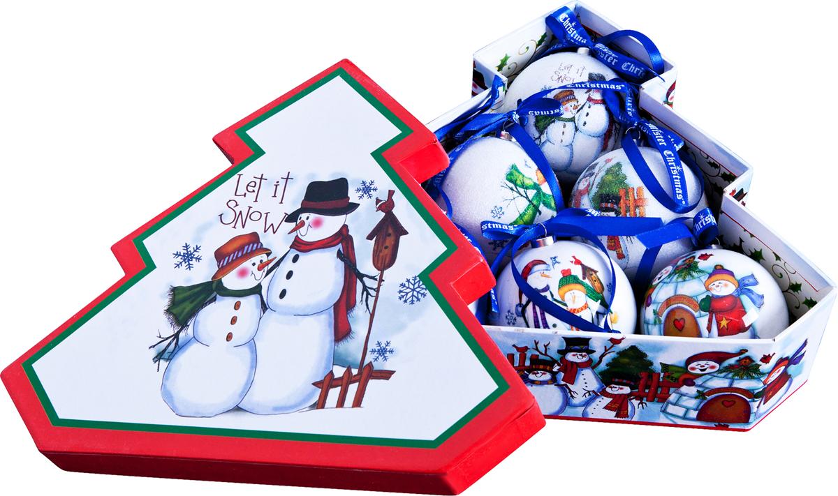 """Набор новогодних подвесных украшений Mister Christmas """"Папье-маше"""", диаметр 7,5 см, 6 шт. PM-25-6T"""