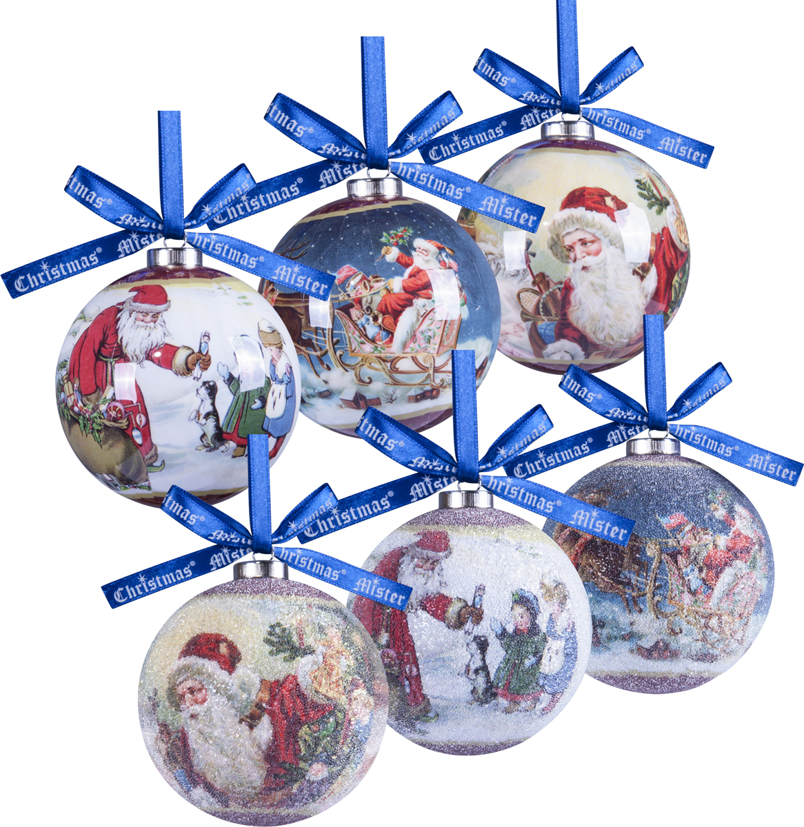 Набор новогодних подвесных украшений Mister Christmas Папье-маше, диаметр 7,5 см, 6 шт. PM-41-6T цена
