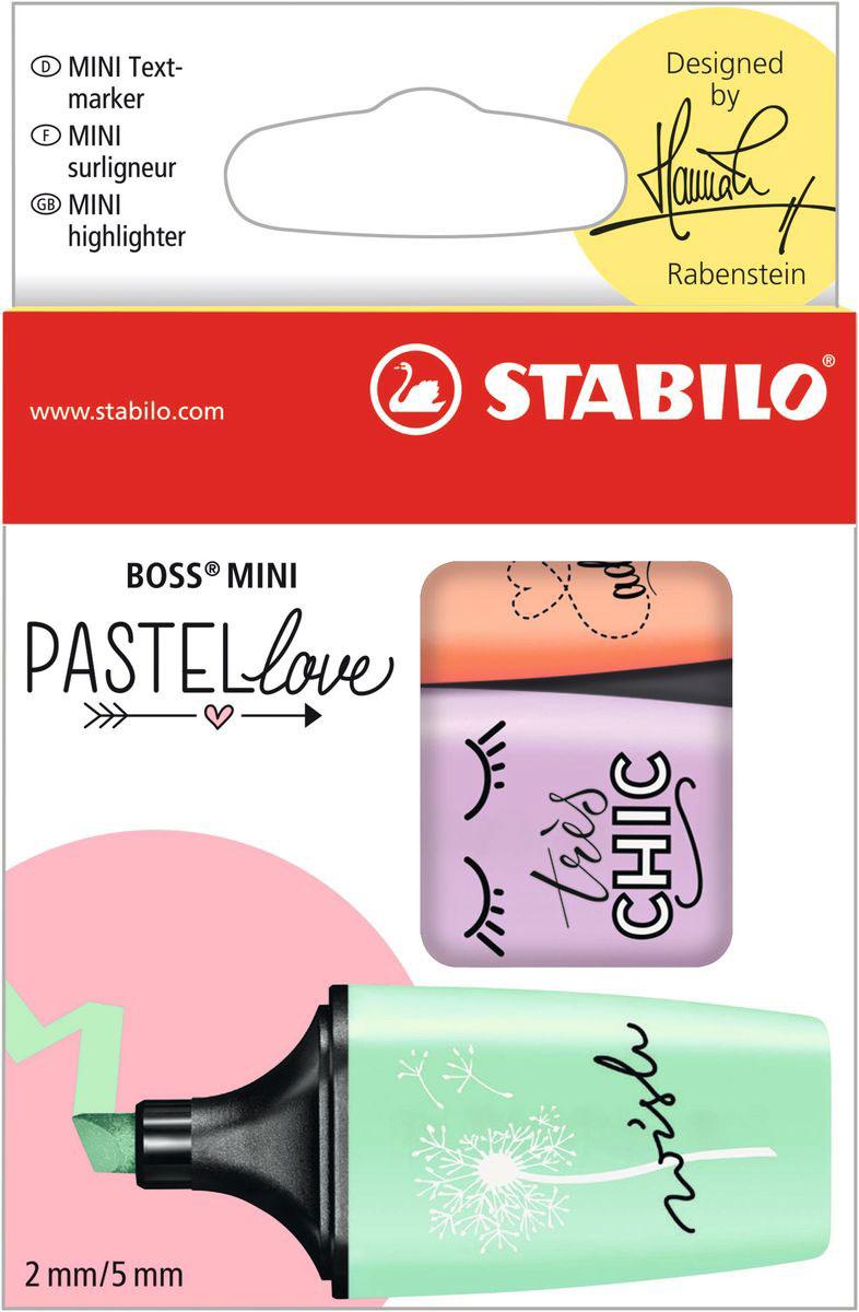 STABILO Набор маркеров Boss Mini Pastel Love 3 цвета 07/03-47 stabilo набор текстовыделителей boss pastel 4 цвета page 10