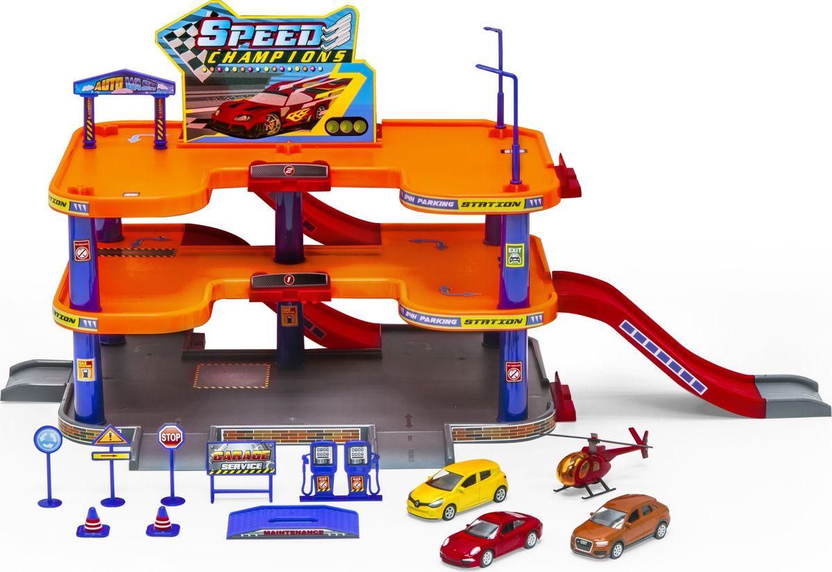 Фото - Welly Игровой набор Гараж с 3 машинами и вертолетом 96050 big игровой набор big дорожные знаки 69 см 3 шт