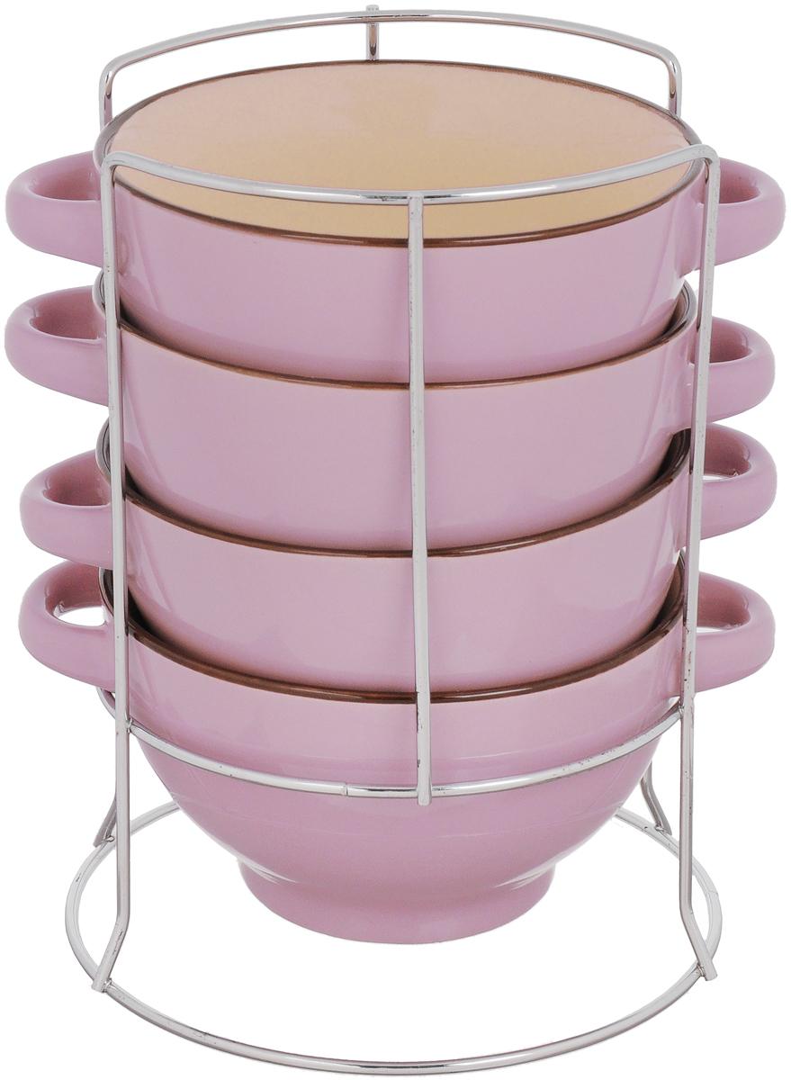 "Набор бульонниц ""Loraine"", на подставке, цвет: сиреневый, бежевый, 420 мл , 5 предметов"