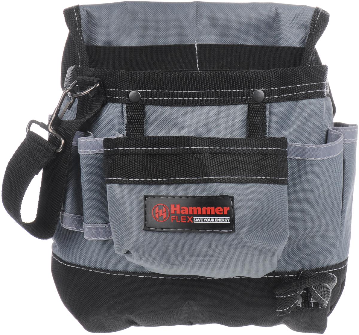 Сумка для инструментов Hammer Flex 235-001, поясная рюкзак hammer flex 235 028 для пилы ушм 410х520х110мм