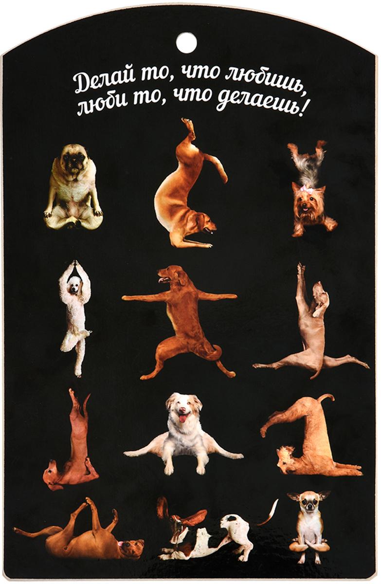 Доска разделочная Marmiton Йога-собаки, цвет: черный, 29 х 18,5 см доска разделочная marmiton птичий двор 17088
