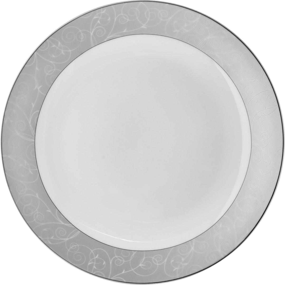 Набор обеденных тарелок Esprado Florestina, цвет: белый, серый, диаметр 23,5 см, 6 шт. FLO023SE301