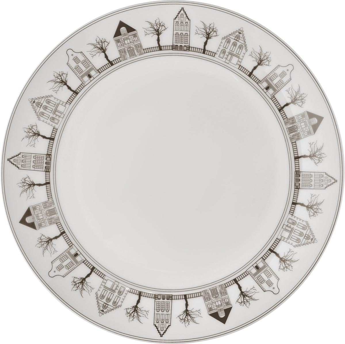 """Набор десертных тарелок Esprado """"Saragossa"""", цвет: белый, серый, диаметр 20,5 см, 6 шт. SRG021BE301"""