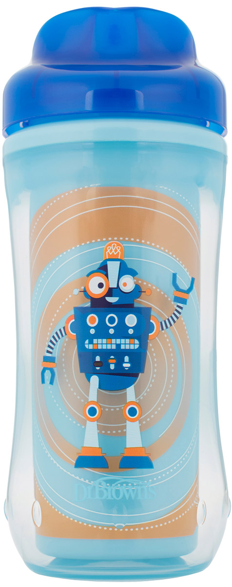Dr. Browns Поильник-термочашка от 12 месяцев цвет голубой синий 300 мл TC01002