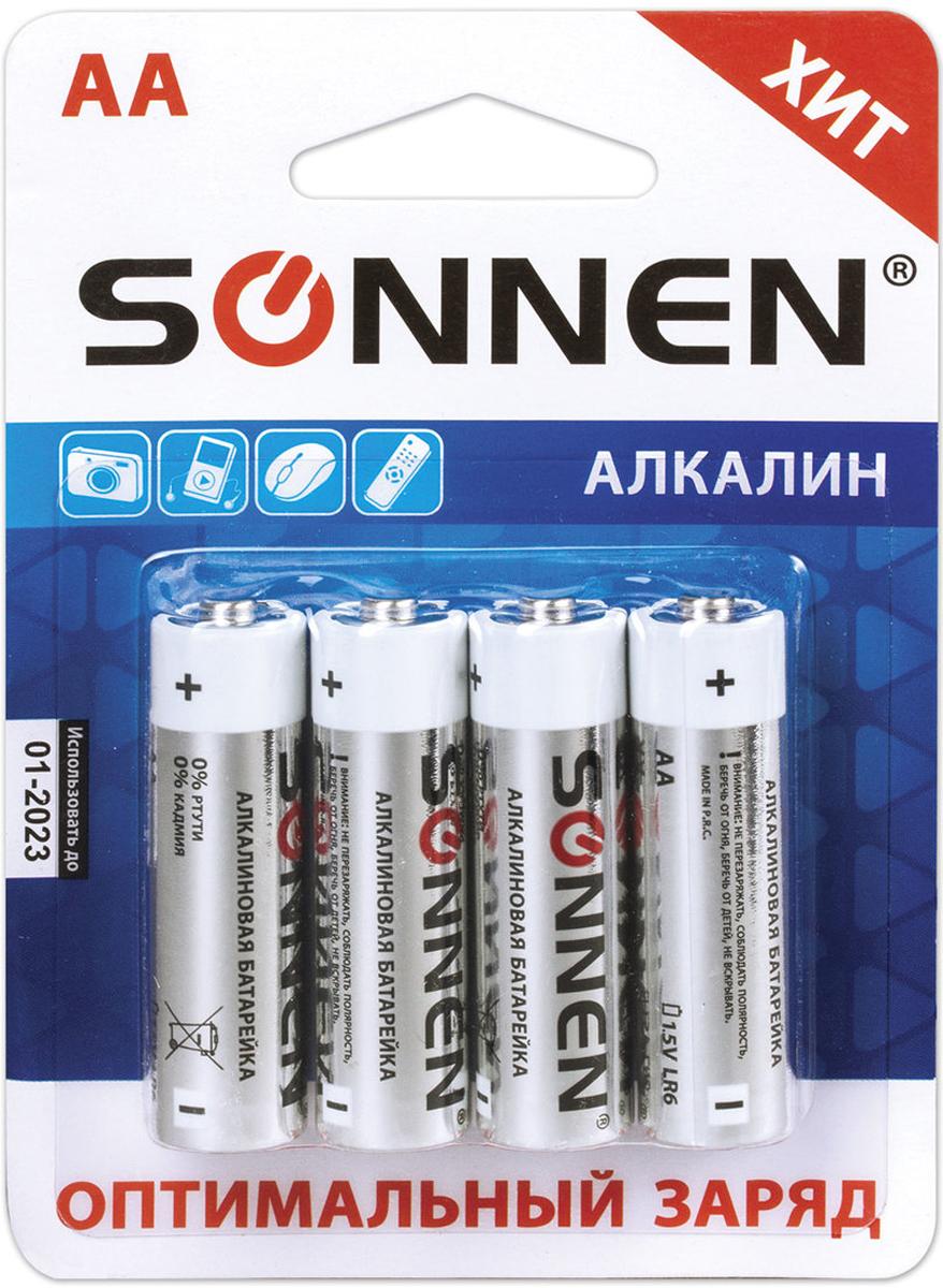 Батарейка алкалиновая Sonnen, тип - AA-LR6, 1,5В, 4 шт. 451085