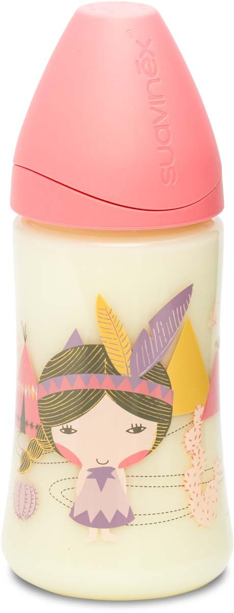 Suavinex Бутылочка от 0 месяцев с силиконовой соской цвет розовый 270 мл 3800055 suavinex бутылочка с латексной соской цвет розовый 270 мл 3156853 роз кролик