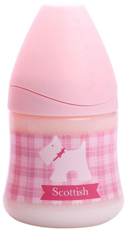 Бутылка Suavinex 150мл SCOTTISH с силиконовой анатом. соской, бл.розовый, принт бел.собачка бутылка suavinex 150мл scottish с силиконовой анатом соской бл розовый принт бел собачка