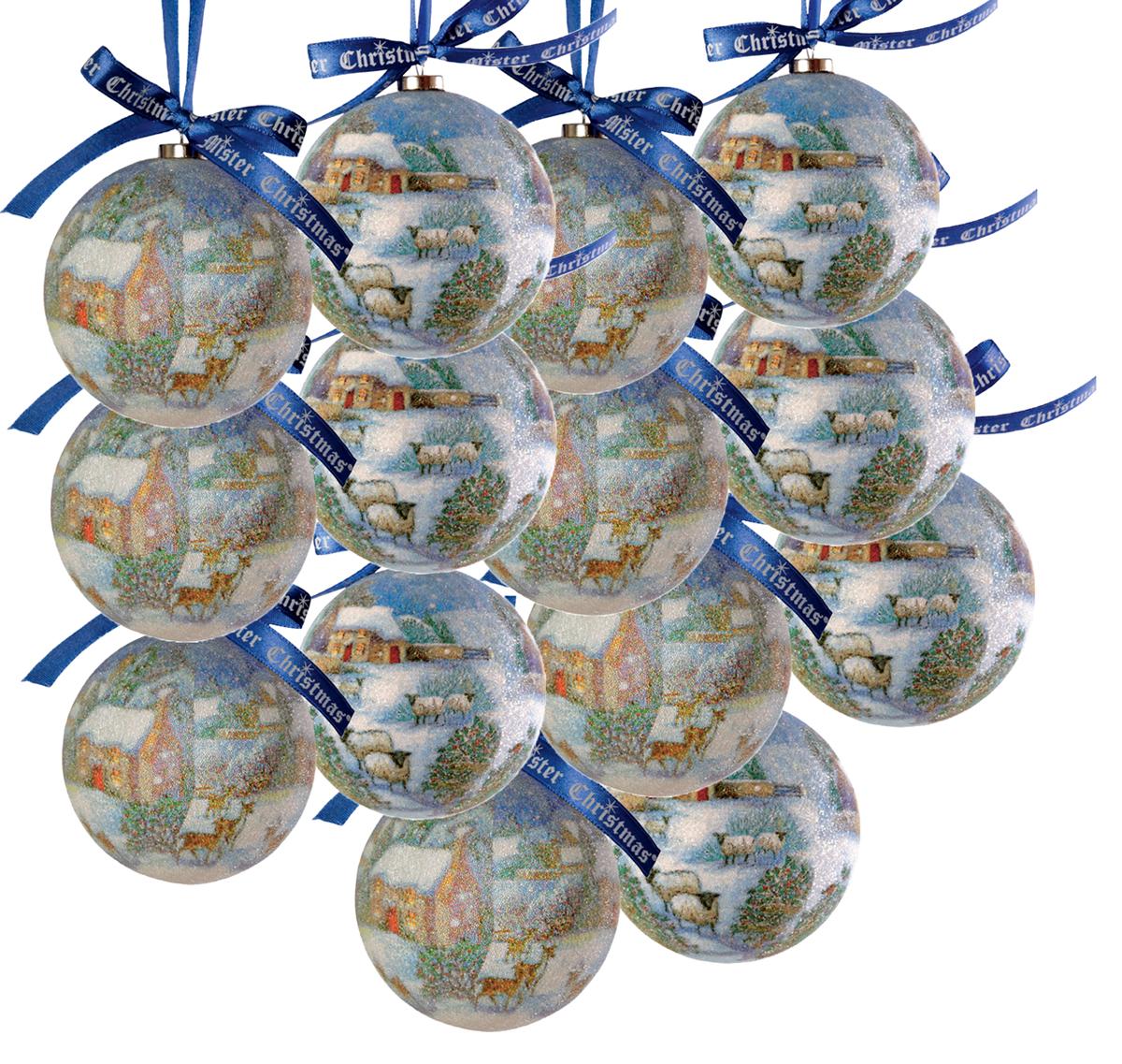 Набор новогодних подвесных украшений Mister Christmas Папье-маше, диаметр 7,5 см, 14 шт. PM-12-14 украшение новогоднее подвесное mister christmas папье маше диаметр 7 5 см pm 15 1t