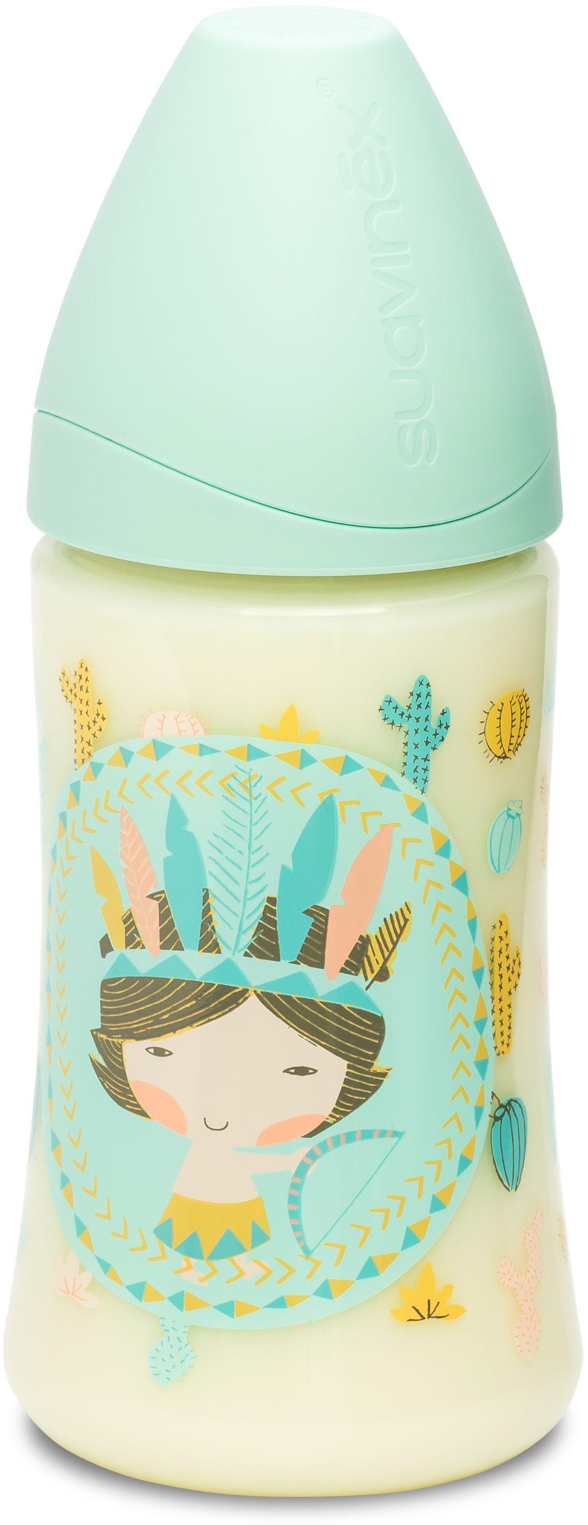 Suavinex Бутылочка от 0 месяцев с силиконовой соской цвет бирюзовый 270 мл цена