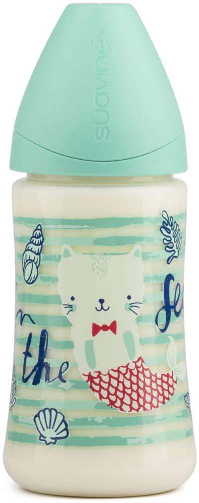 Бутылка Suavinex 270мл от 0 до 6 мес. с анатом. латексной соской (Зеленый) suavinex бутылочка с латексной соской цвет розовый 270 мл 3156853 роз кролик
