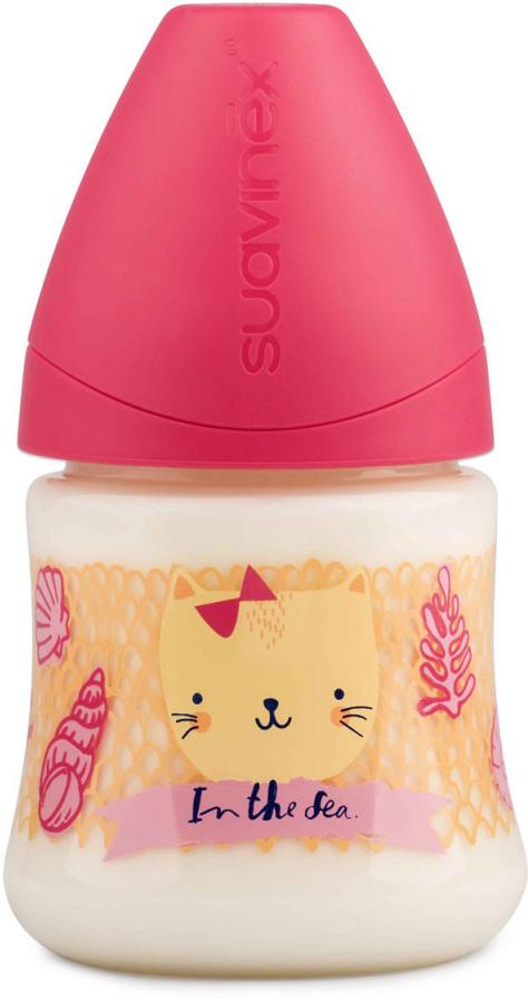 Бутылка Suavinex 150мл от 0 до 6 мес. с анатом. латексной соской, роз.море (розовый) бутылка suavinex 150мл scottish с силиконовой анатом соской бл розовый принт бел собачка