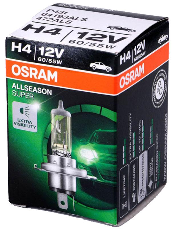 Лампа галогенная Osram H4 Allseason 12V, 60/55W, 3200 К, 1 шт