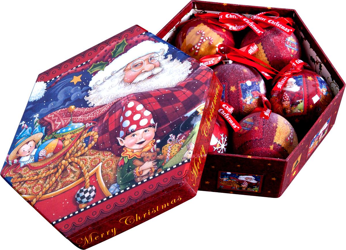 Набор новогодних подвесных украшений Mister Christmas Папье-маше, диаметр 7,5 см, 7 шт. PM-29-7 украшение новогоднее подвесное mister christmas папье маше диаметр 7 5 см pm 15 1t