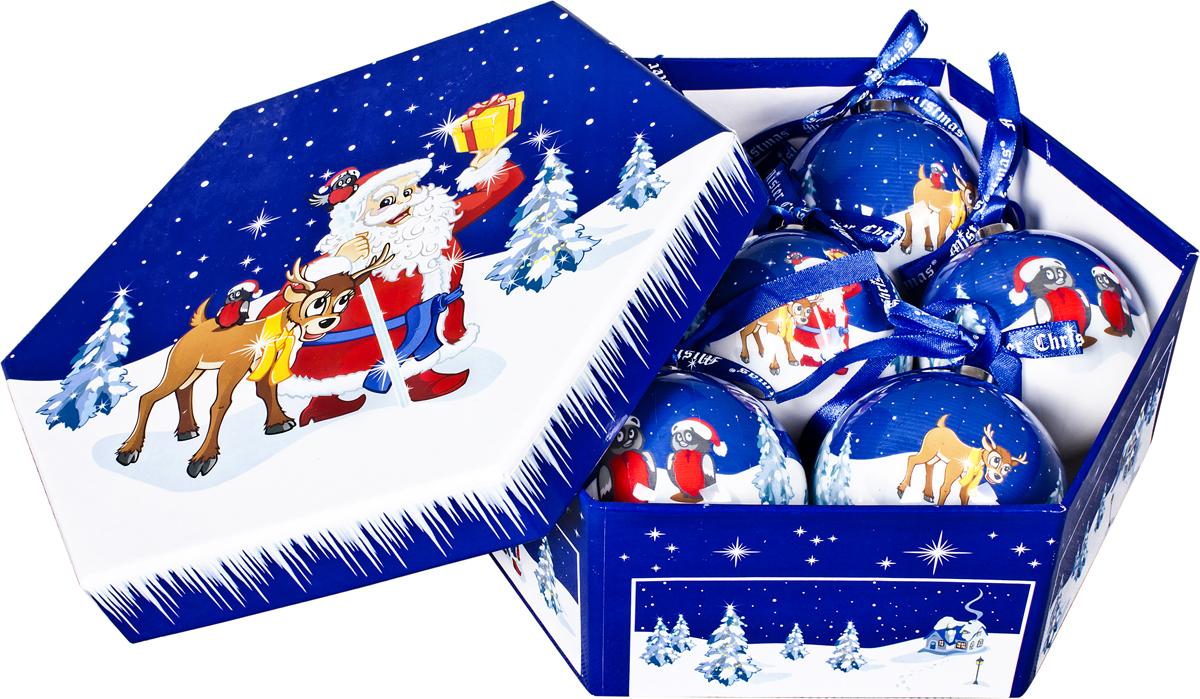 Набор новогодних подвесных украшений Mister Christmas Папье-маше, диаметр 7,5 см, 7 шт. PM-51-7 украшение новогоднее подвесное mister christmas папье маше диаметр 7 5 см pm 15 1t