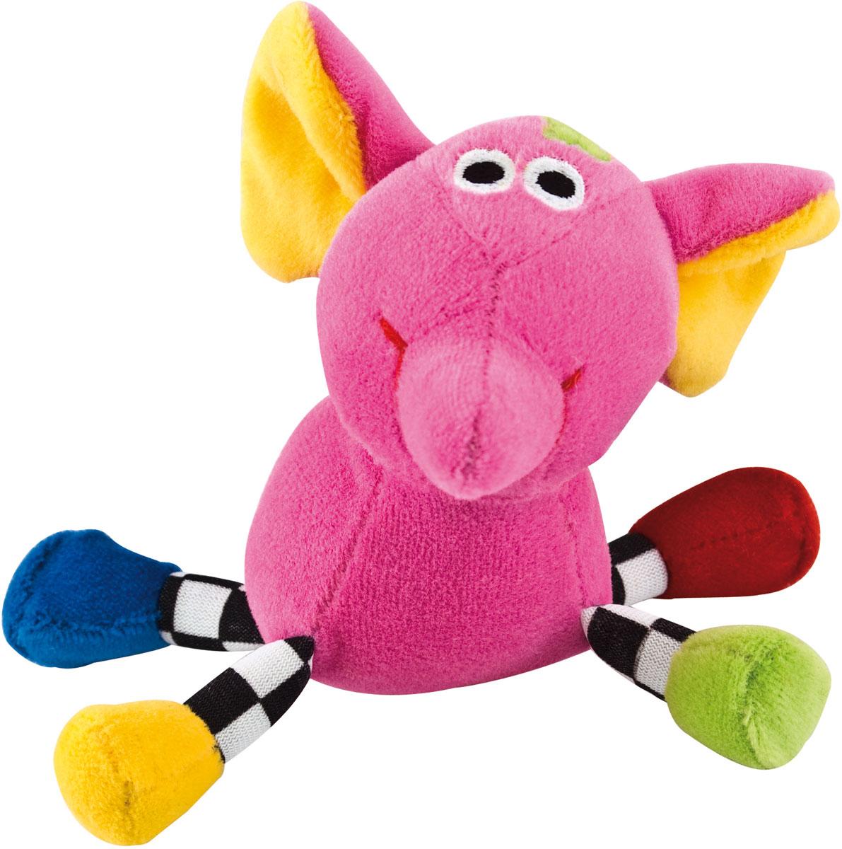 Canpol Babies Игрушка подвесная с погремушкой Сумасшедшие животные Слон цвет розовый