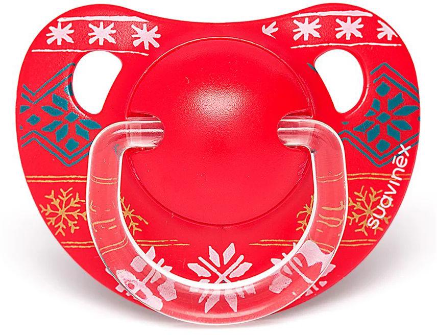Suavinex Пустышка Winter Collection анатомическая силиконовая цвет красный