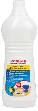 Средство для мытья пола Лайма Professional. Лимон, концентрат, 1 л. 601607 средство для мытья пола лайма professional лимон концентрат 1 л